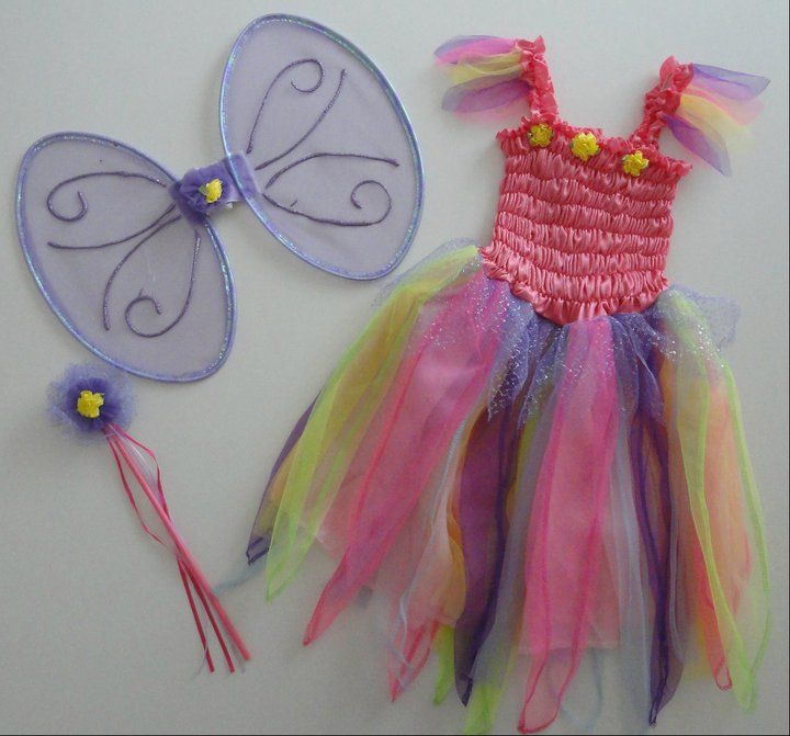Çocuklar İçin Balo Kostümleri - Renkli peri kız kostümü