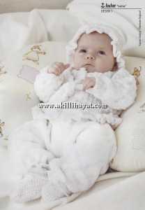 Beyaz örgü bebek takımı ( hırka pantolon patik ve bere) yapımı