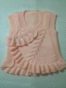 Fırfırlı kız bebekleri için bebek yelek modelleri yapılışı anlatımlı