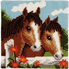 At işlemeli Goblen işi yastık modeli