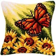 Goblen işi kelebek ve ayçiçek işlemeli yastık modeli