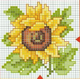 Günebakan çiçekli kanaviçe şeması