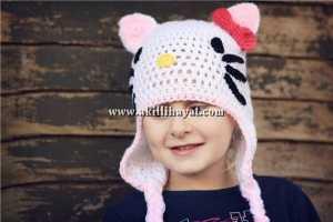 hello kitty kulaklı çocuk beresi modeli