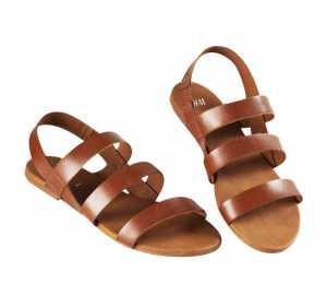 2011 H&M Ayakkabı Modelleri - H&M kahverengi deri sandalet modeli