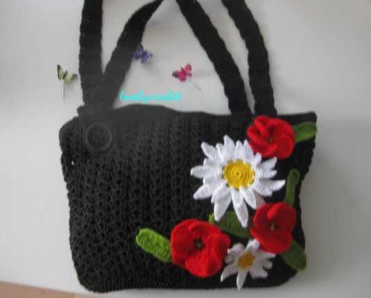 Gelincik çiçeği motifli örgü çanta modeli yapılışı