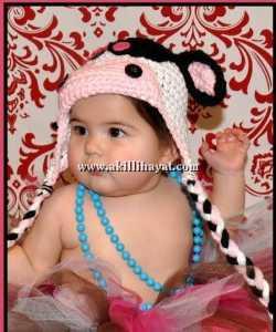 inekli bebek şapkası modeli
