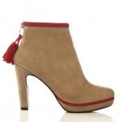 İvana Sert ' in püsküllü kırmızı bej rengii bot modelleri