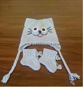 Kulaklı kedi figürlü bebek şapkası modeli yapılışı (açıklamalı)