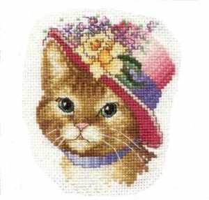 Kedi figürlü kanaviçe şeması