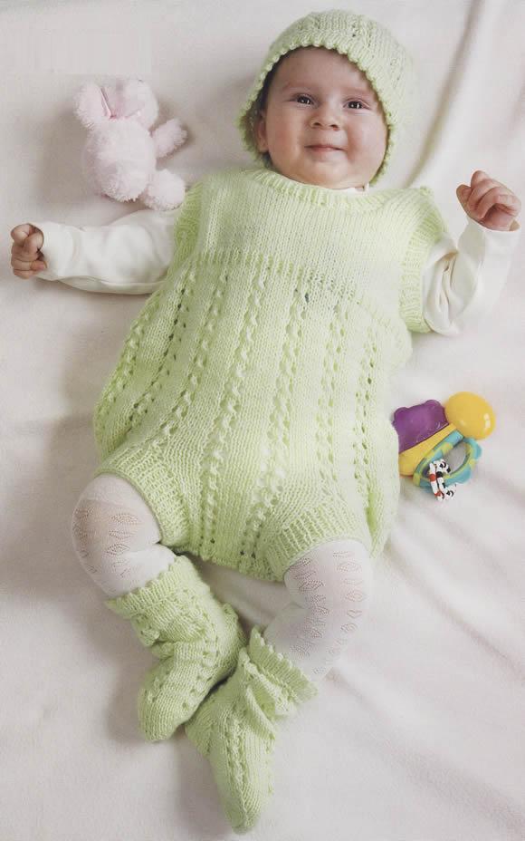 Örgü bebek tulumu ve orgu bebek beresi takımı