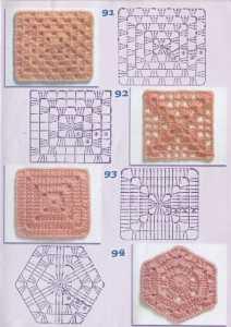 Örgü battaniyeler için kare motifler ve şemaları