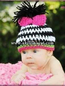 saç desenli bebek şapkası modeli