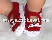 Ayakkabı tarzı örgü bebek patiği modeli yapılışı ( açıklamalı )