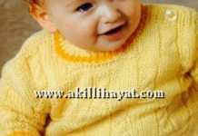 Örgü Erkek bebek kazağı modeli