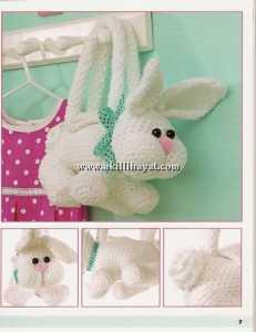 uzun kulak tavşan figürlü amigurumi kız çocuk çanta modeli