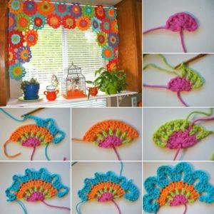 Tığ işi renkli motiflerle runner ve mutfak perdesi yapılışı anlatımlı