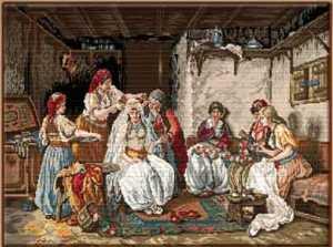 Kadın ve düğün işlemeli goblen işi tablo modelleri