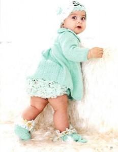Pirinçli Örgü bebek elbisesi,fırfırlı külot ve patik takımı yapılışı