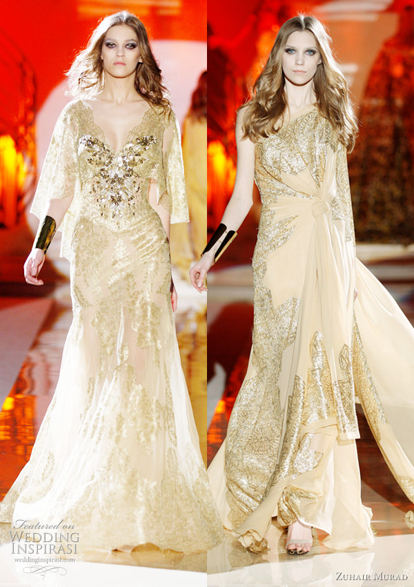 2011 - 2012 Zuhair Murad Koleksiyonu - Bal köpüğü rengi swarovski taşlı abiye modelleri
