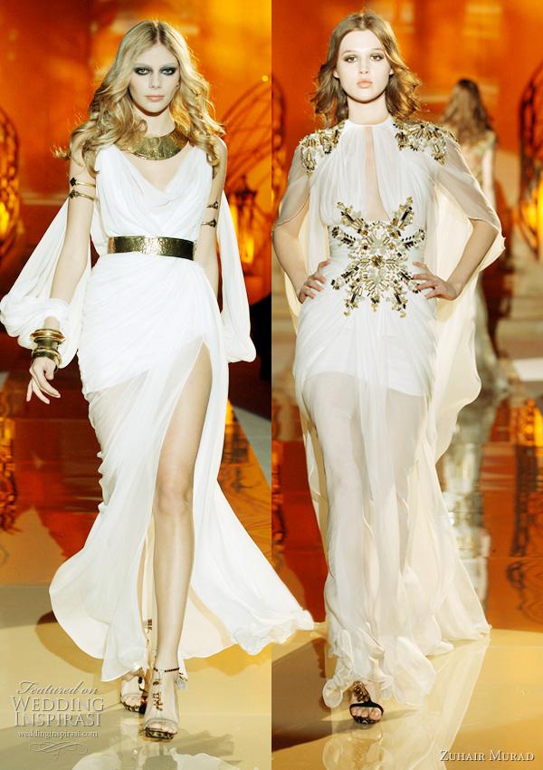 2011 - 2012 Zuhair Murad Koleksiyonu - Beyaz altın sarısı işlemeli uzun abiye modelleri