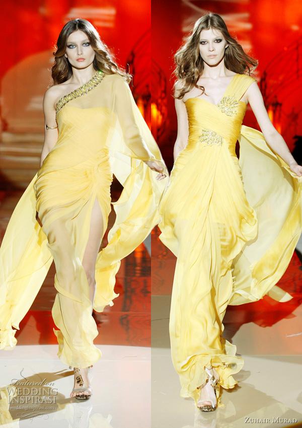 2011 - 2012 Zuhair Murad Koleksiyonu -Sarı renk tek omuz uzun abiye modelleri