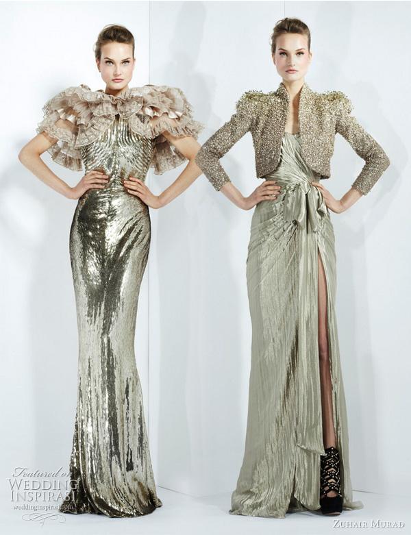 2011 - 2012 Zuhair Murad Koleksiyonu - Metalik renk kürklü ve mini bolero ceketli uzun abiye modelleri