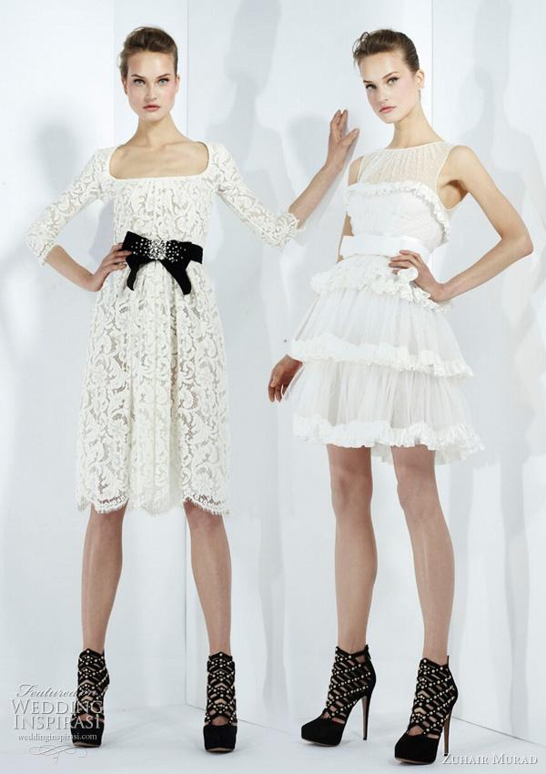 2011 - 2012 Zuhair Murad Koleksiyonu - Beyaz mini dantel abiye modelleri