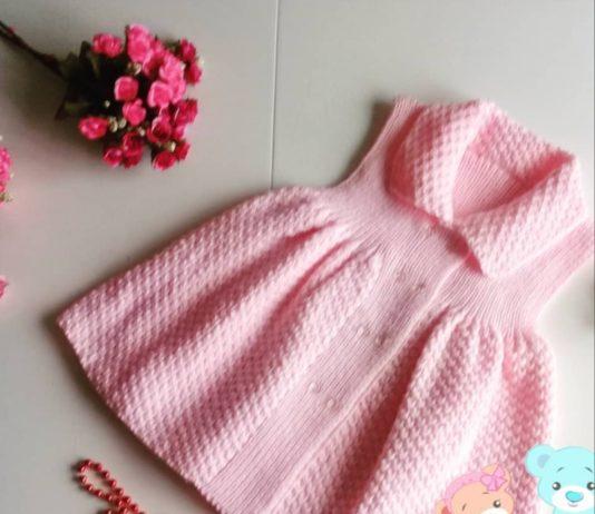 Kız çocukları için yakalı örgü kiloşlu elbise modeli tarifi anlatımlı