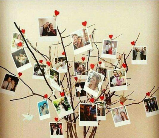 Kuru dallarla yapılmış çoklu resim ağacı yapılışı