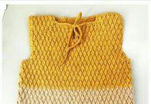 Derya Baykalın 27 03 2017 tarihli programında ki tığ işi sarı krem lacivert renkli örgü bebek elbisesi modeli yapılışı anlatımlı