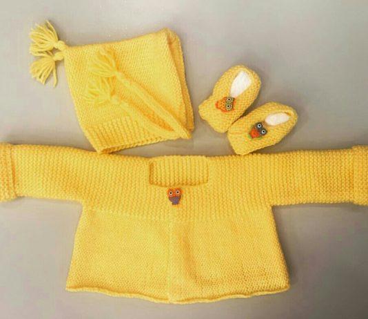 Sarı renk örgü bebek hırlası ve örgü bebek başlığı yapılışı anlatımlı